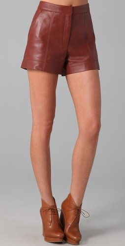 Tibi High Waisted Leather Shorts