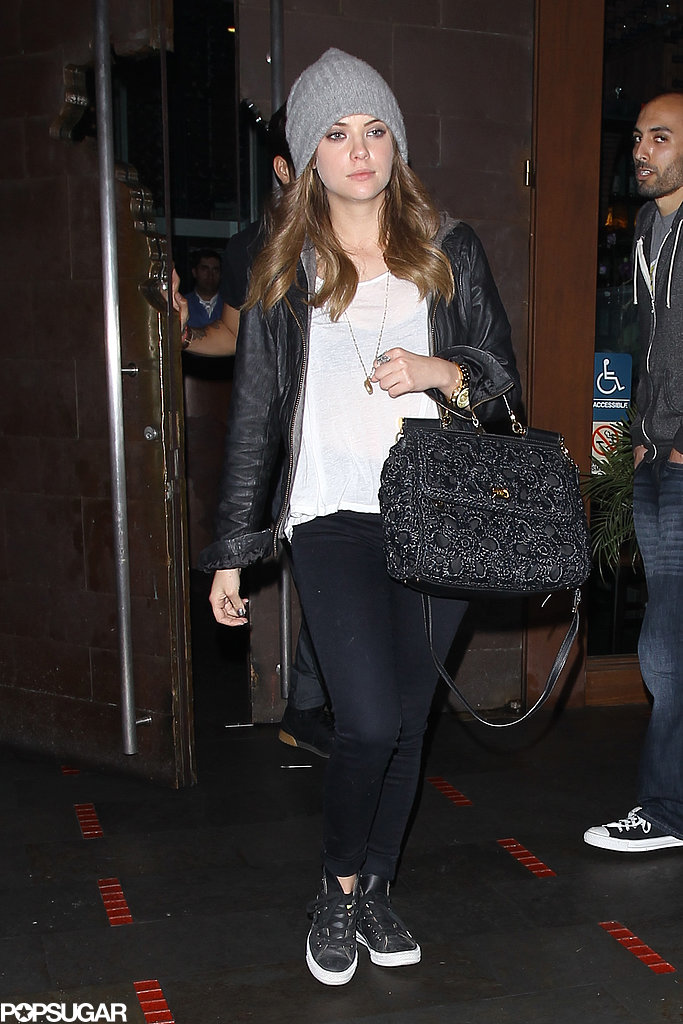 Ashley Benson left dinner with Taylor Lautner.