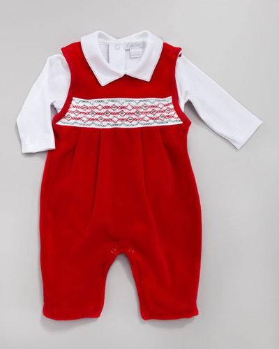 Kissy Kissy Holiday Velour Overall Set