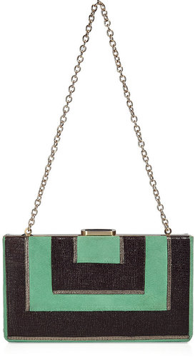 Diane von Furstenberg Jade/Ebony Clutch with Chain Strap