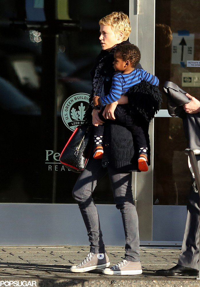 Charlize Theron Brings Jackson to Boston For Business