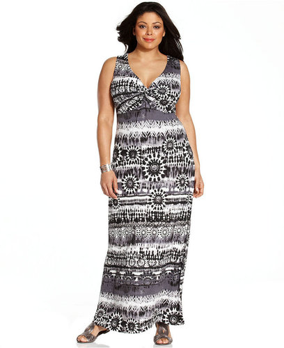 AGB Plus Size Dress, Sleeveless Printed Twisted Front Maxi