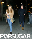 Justin Timberlake walked with Jessica Biel in NYC.