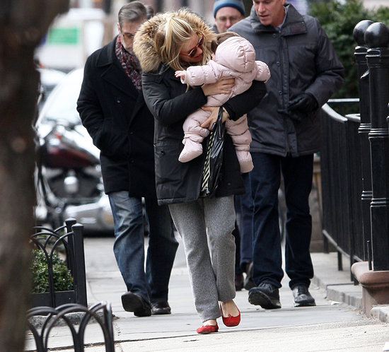 Sienna Miller was all smiles with Marlowe in her arms.