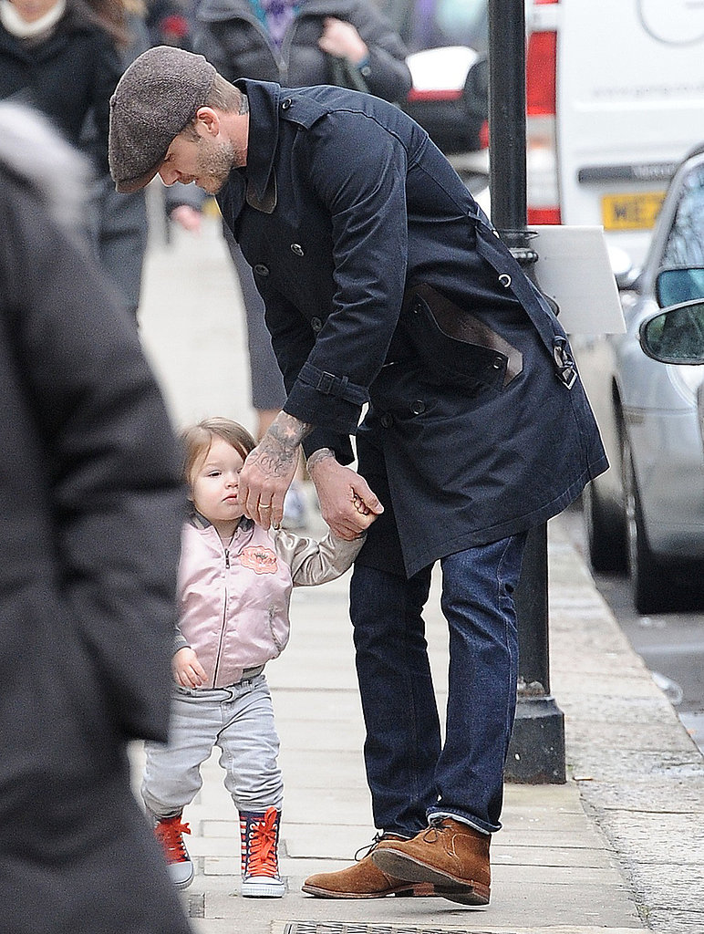 Harper Beckham showed off her walking skills on the streets of London with dad David Beckham.