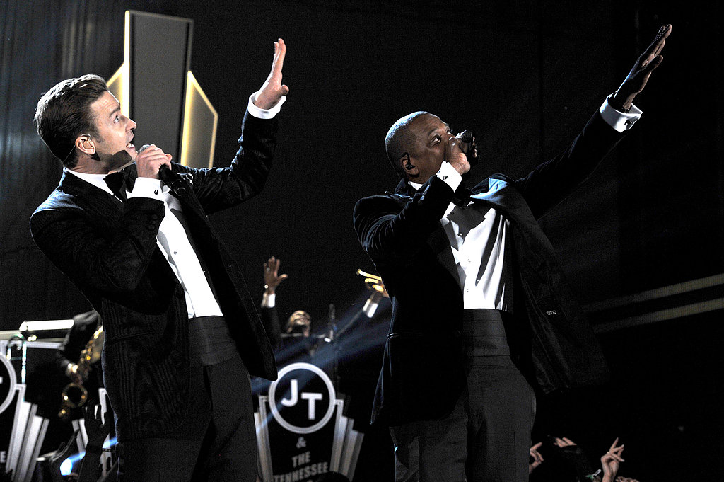 "Justin Timberlake and Jay Z went from the front row to the stage at the Grammys, performing ""Suit & Tie"" together."
