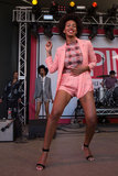 Solange was Spring-perfect in a pastel-hued Clover Canyon suit, Marni top and Kirkwood ankle-strap heels on stage at SPIN.