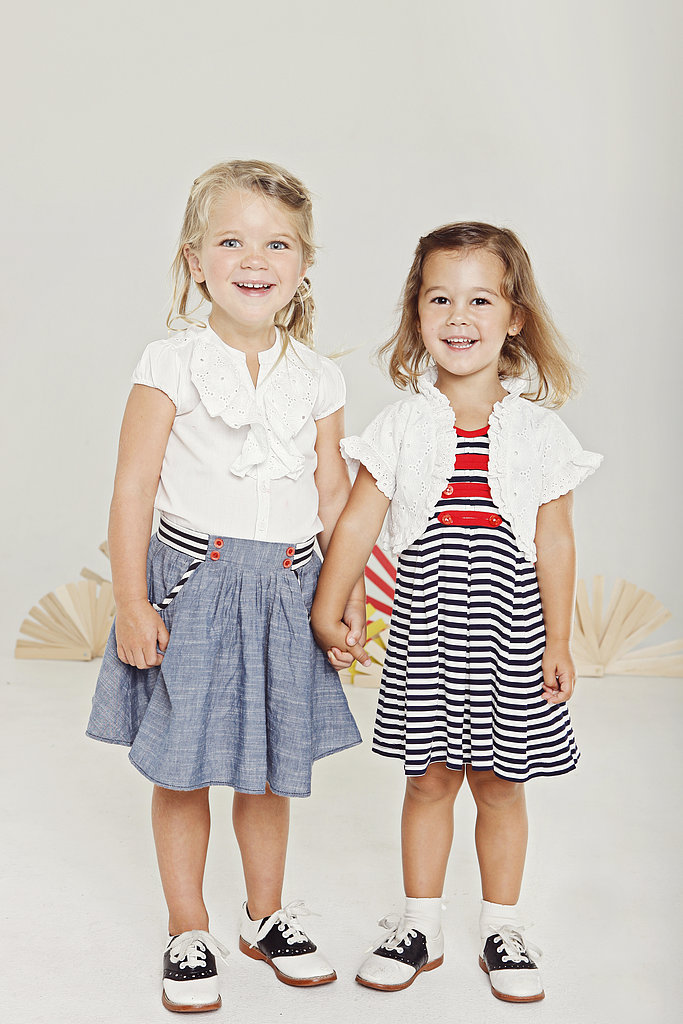 From left: Look one: Eyelet Top ($46), Chambray Skirt ($48) Look two: Navy/White Striped Dress ($51), Eyelet Shrug ($44)