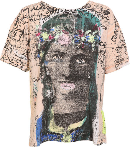 Meadham Kirchoff Hand screen-printed 'Crowley Lady' cotton t-shirt