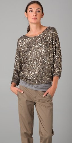 Vince Cluster Sequin Raglan Cropped Top