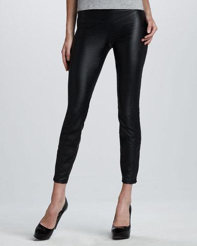 Blank Faux-Leather Leggings, Black Bean