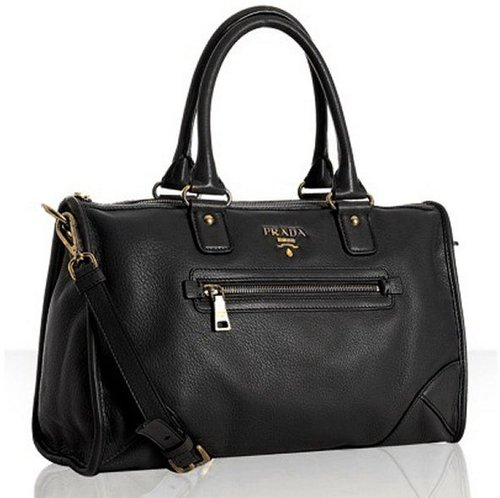 Prada black deerskin zip pocket satchel
