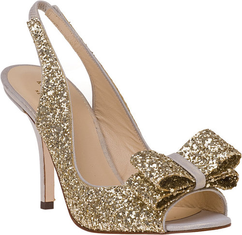 KATE SPADE Charm Slingback Pump Platinum Glitter