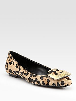 Madison Leopard-Print Calf Hair Ballet Flats