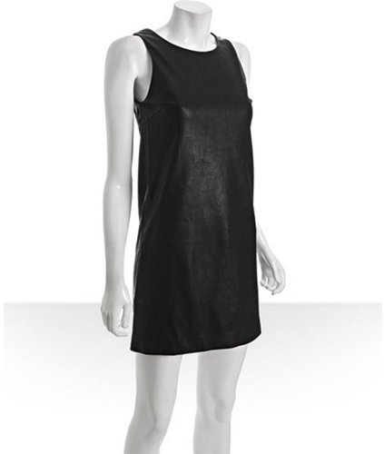 Wyatt black faux leather 'Leah' shift dress