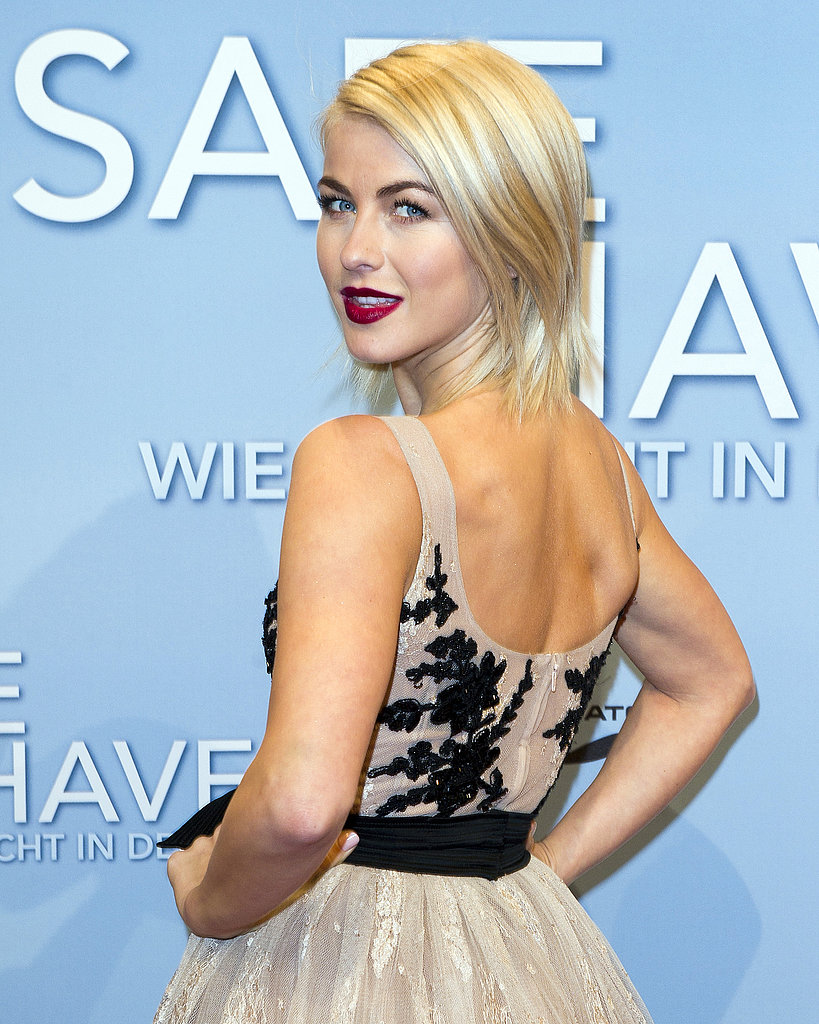Julianne Hough proved that bold brows and dark crimson lipstick are all you need to make a strong beauty statement.