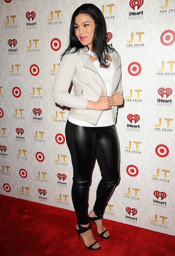 Jordin Sparks playfully posed with her white jacket.