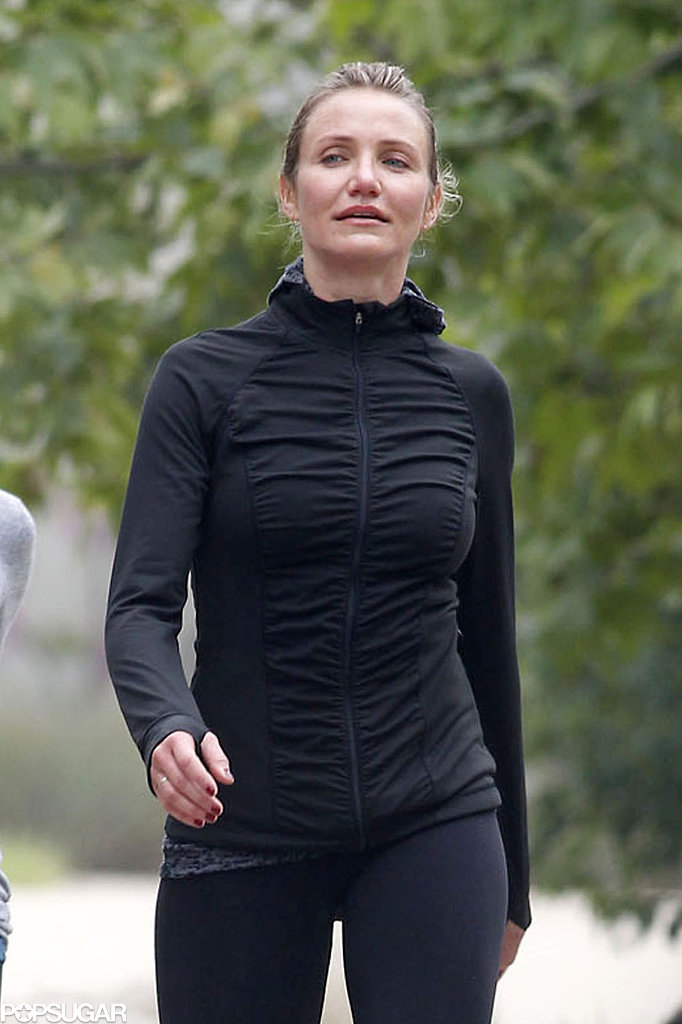 Cameron Diaz wore all black for her casual workout session.