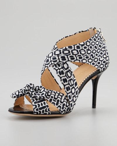 Charlotte Olympia Patricia Pleated Printed Crepe Sandal