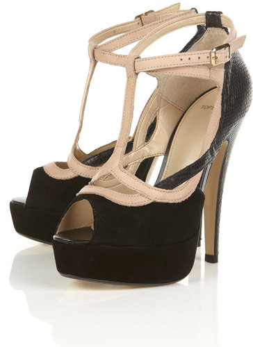 SLINK Black Suede Faux Snakeskin T-bar Cut Out Platform Sandals