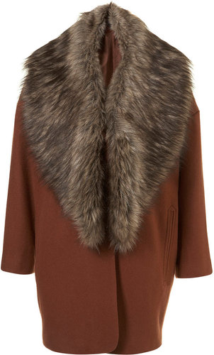 Faux Fur Collar Boyfriend Coat