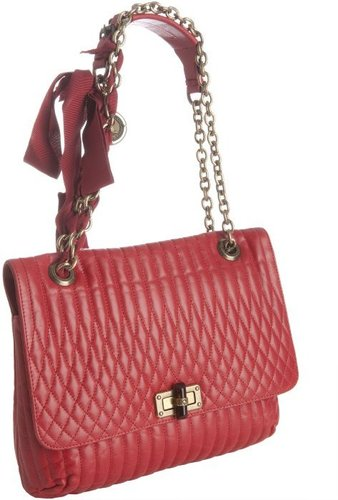 Lanvin red quilted leather 'Happy' shoulder bag