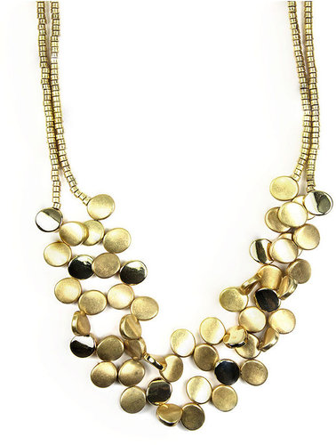 Jones New York Necklace, Gold Tone Two Row Disc Collar