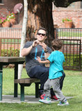 Mark Wahlberg and His Son Brendan Share a Pigskin Playdate