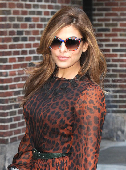 Eva Mendes smiled on her way into her Late Night With David Letterman appearance.