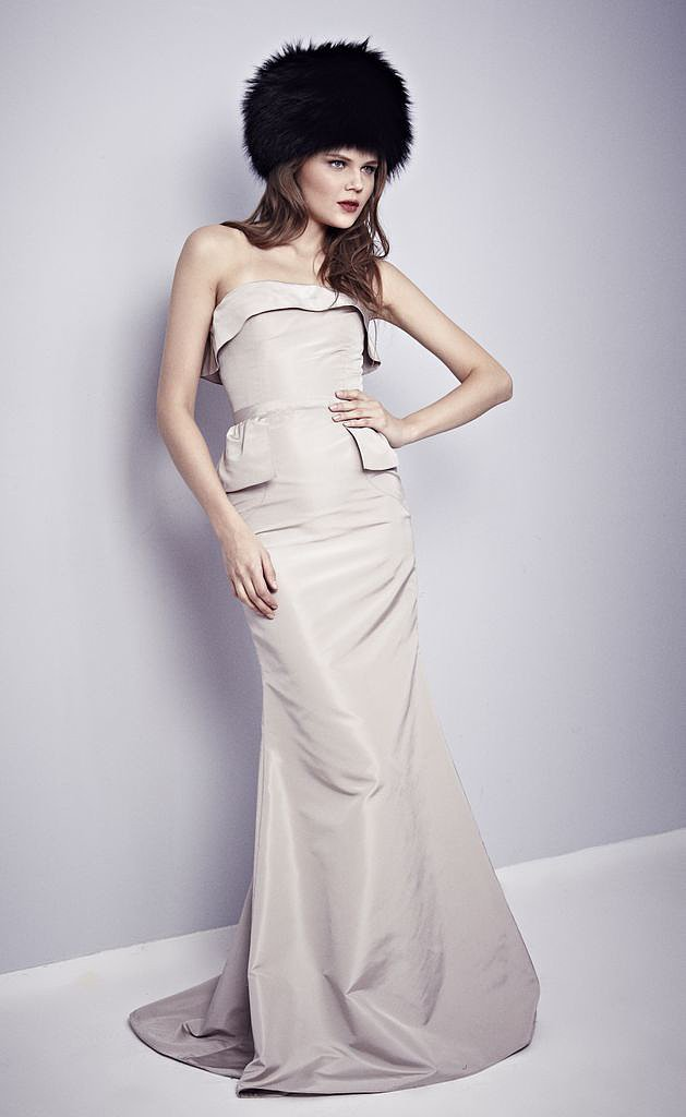 Jessica Chastain's red locks would look flawless with this Misha Nonoo taupe silk strapless gown with touches of peplum.