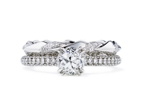 How would we describe this Anna Sheffield Eleonore Bridal Set ($30,000)? Stunning. The sheer cushion-cut diamond sparkle is enough to turn heads again and again.