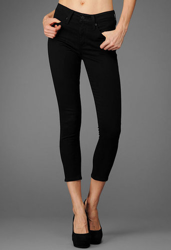 The Sateen Farrah Skinny Crop - Super Black
