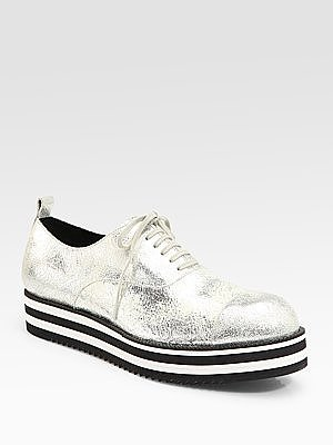 Crackled Metallic Leather Oxfords