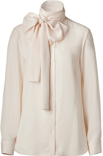 BY MALENE BIRGER Cream Tie Neck L/S Top
