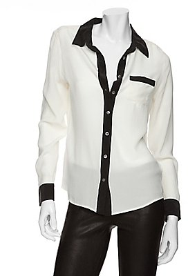 Equipment Brett Colorblock Tuxedo Blouse