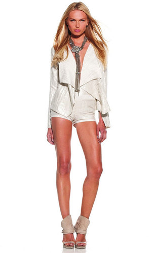 Maike High Waisted Shorts with Front Pockets in Ivory Shimmer - by Alexis