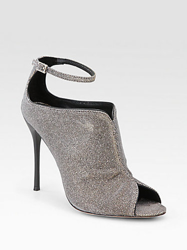B Brian Atwood Liese Metallic Peep Toe Ankle Boots