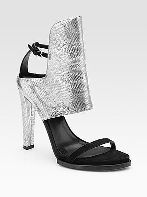 Liu Suede/Metallic Python Print Sandals