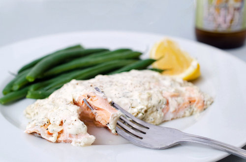 Baked Salmon with Creamy Dijon Dill Sauce