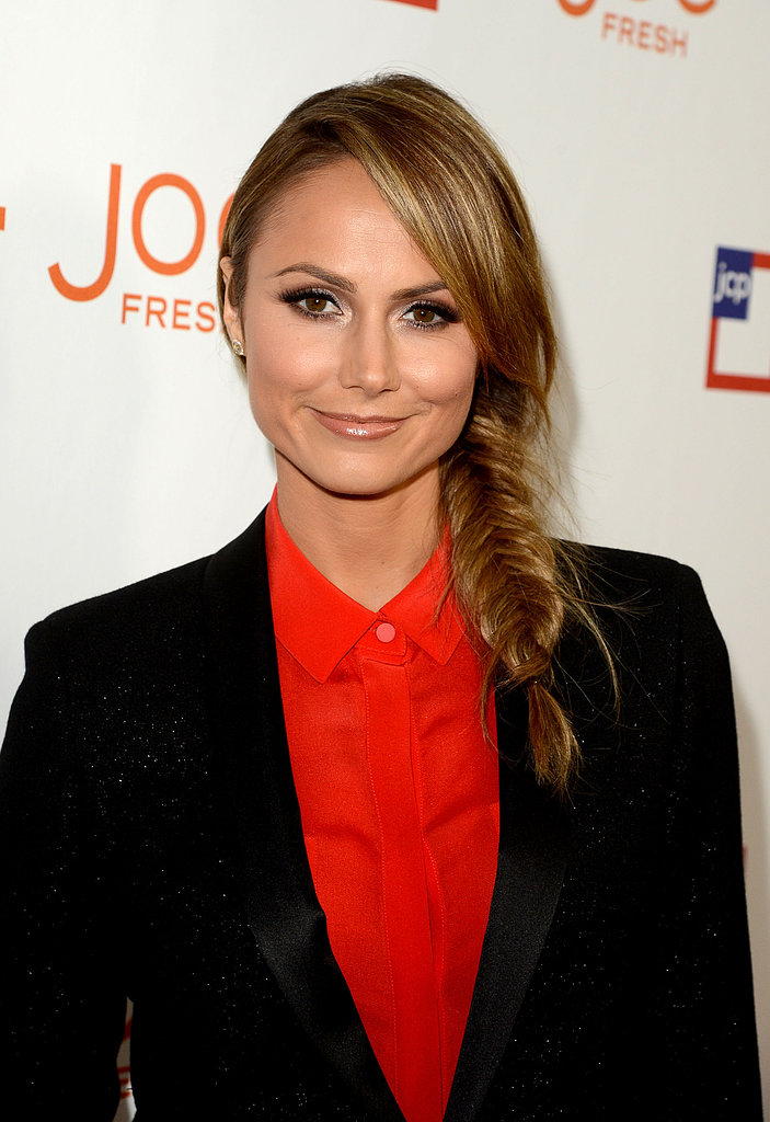 Stacy Keibler showed off a simple fishtail plait that can be polished or mussed up for a more casual feel.