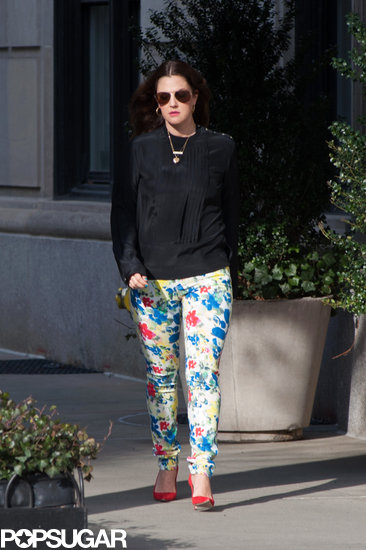 Drew Barrymore wore floral pants in NYC on Thursday.