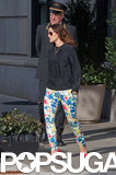 Drew Barrymore paired her floral pants with red pumps.