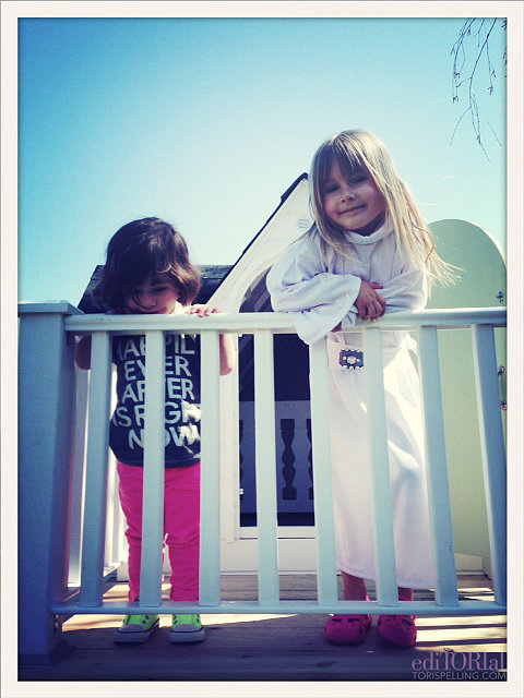 Stella and cousin Simone hanging.