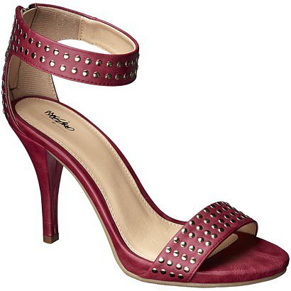 Women's Mossimo® Vidal Heeled Ankle Strap Sandals with Studs - Red
