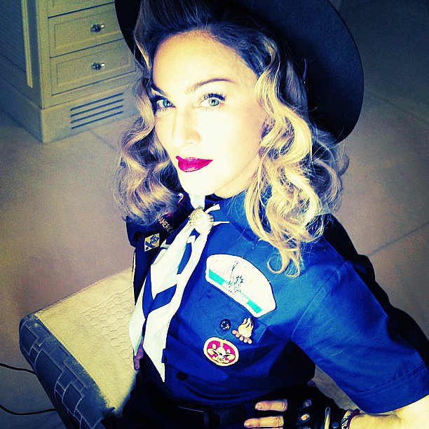 Madonna amped up her Boy Scout uniform with some sexy curls and a pop of red on her lips.  Source: Instagram user madonna