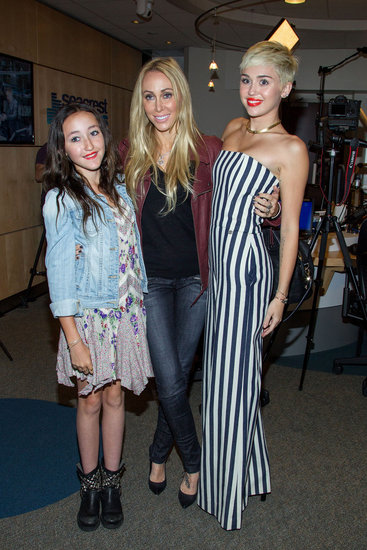 Miley Cyrus was joined my her mom, Tish Cyrus, and her little sister, Noah Cyrus, during her radio interview.