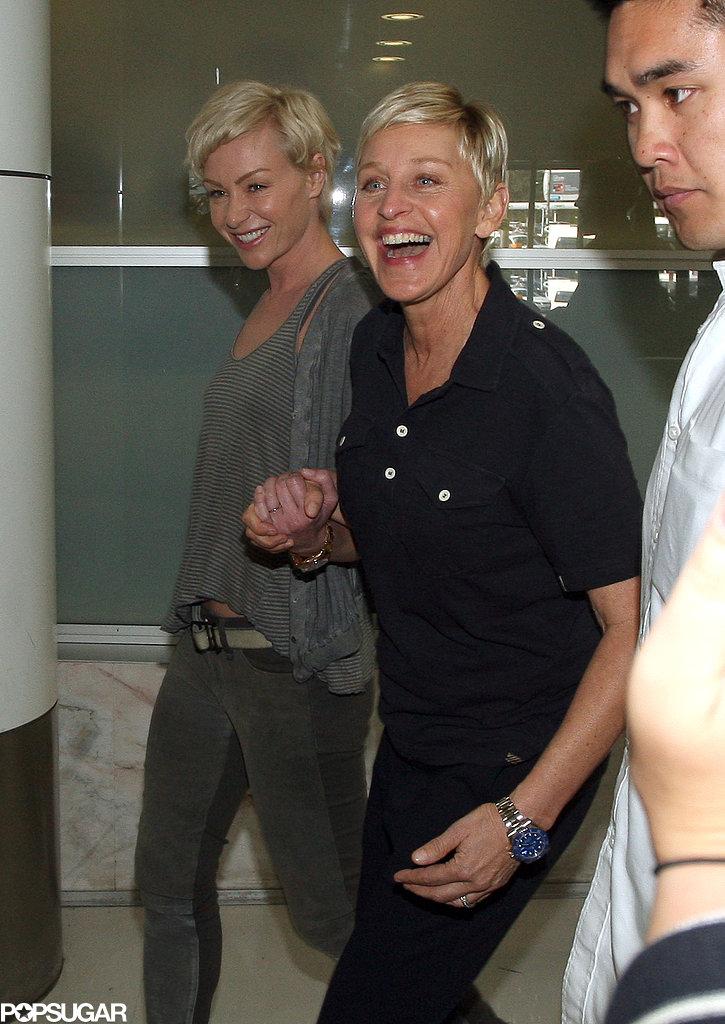Ellen DeGeneres and Portia de Rossi arrived in Sydney yesterday.