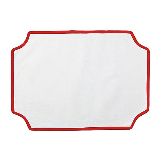Cayenne-colored piping and an elegant placard shape give these simple place mats ($74 for four) design appeal.