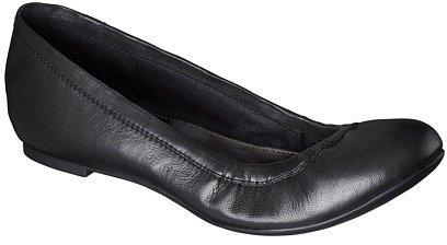 Women's Merona® Genuine Leather Scrunch Flat - Black