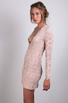 Nightcap Clothing Deep V Long Sleeve Victorian Dress in Nude